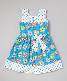 Look what I found on #zulily! Blue Polka Dot Floral Pleated Dress - Toddler & Girls by Sam de Fleur #zulilyfinds