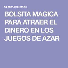 BOLSITA MAGICA PARA ATRAER EL DINERO EN LOS JUEGOS DE AZAR