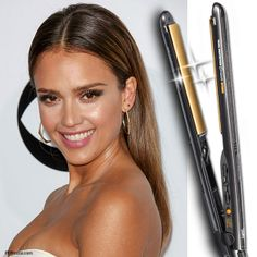 Do you love this sleek & straight look on Jessica Alba? Very easy to recreate, just blow dry your hair with a part down the middle, once 100% dry then straighten and tuck behind your ears. Add some big earrings to finish the look.