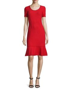 Textured+Short-Sleeve+Flounce+Dress,+Paprika+by+St.+John+Collection+at+Neiman+Marcus.