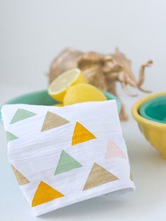 Triangle Tea Towel with Fabric paint from @Lovely Indeed