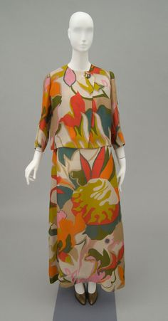 Woman's long dress and jacket | Designed by Madame Grès (French, 1903-1993) | France, c. 1960's-1970's | Printed silk organza | Philadelphia Museum of Art