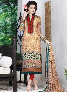 Blooming Cream French Crepe Digital Printed Churidar Suit In  Fiji http://www.angelnx.com/Salwar-Kameez/Churidar-Suits