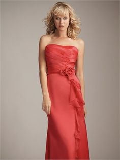 Long Strapless with Pleated Bodice and Flower Rosette Chiffon Homecoming Dress HD1414 www.homecomingstore.com $142.0000