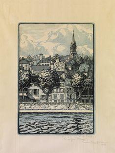 Κεφαλληνός Γιάννης, Τό φιλόξενο Saint-Cloud, 1920 Art Articles, Collagraph, Scratchboard, Wood Engraving, Vintage World Maps, Stamp, Etchings, Prints, Woodblock Print
