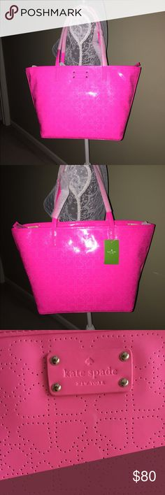 NWT KATE SPADE PINK HARMONY TOTE NWT KATE SPADE PINK HARMONY TOTE.  Perfect for everyday or the beach.  Measures approximately  17 1/2 inches x 10 inches Kate Spade Bags Totes