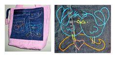 Bolsa com jeans reciclado e bordado. Artesã Eliane David. Curitiba-Paraná.