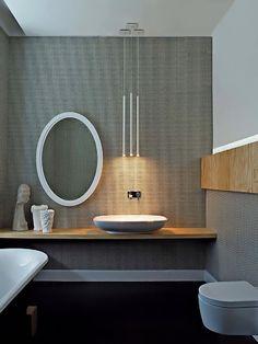 clean elegant open shelf sink in bathroom, elle decor italia House Design, House Bathroom, Bathroom Styling, Round Mirror Bathroom, Modern Bathroom, Bathroom, Elle Decor, Bathroom Decor, Bathroom Inspiration