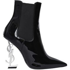 Saint Laurent Women 110mm Opyum Patent Leather Boots ($1,675) ❤ liked on Polyvore featuring shoes, boots, high heeled footwear, patent boots, high heel boots, elastic boots and leather sole shoes