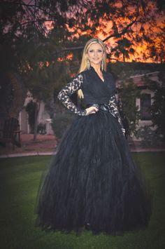Black adult tutu, long black tutu skirt, sewn tutu. $355.00, via Etsy.