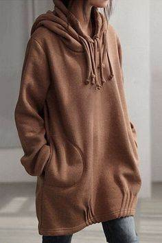 Brown Easy-matched Midi Hoodie With Side Pockets - US$29.95 -YOINS