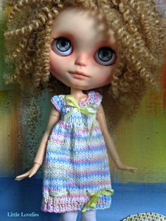BLYTHE or Pullip Doll Dress OOAK - Pastel Princess - pastel yarn with pure silk bows by Little Lovelies, $25.00 AUD