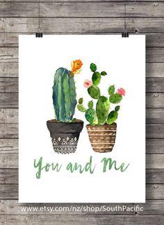 Kakteen du und ich | Valentine Kakteen | Aquarell-Kaktus | Typografie-Hand gelettert gemütliches Dekor druckbare Wandkunst