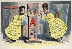 Caricatura histórica(finales XIX),que representa a los dos líderes de la prensa amarilla americana, ambientada en la serie de Hogan´s Alley. Pulizter(izquierda) y Hearst(derecha) fueron los responsables de crear una opinión pública, en América, a favor de ayudar a Cuba y a Filipinas, en sus respectivas guerras de independencia, con noticias como la acusación a España por la explosión de su acorazado, Maine, entre otras, que desembocaría(1 mayo 1898) con la entrada de EEUU en la guerra de…