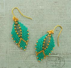 Linda's Crafty Inspirations: Russian Leaf Earrings - Turquoise & Gold