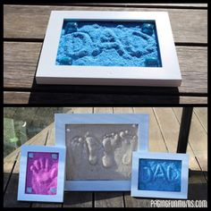 DIY Sand Impressions Keepsake - handprints, footprints or words Sand Crafts, Crafts To Do, Kids Crafts, Frame Crafts, Summer Crafts For Kids, Summer Fun, Art For Kids, Summer Bucket, Craft Gifts