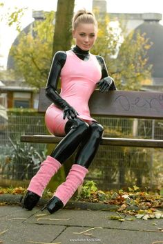 ^^ Pink latex dress Black bodysuit on a pretty blonde