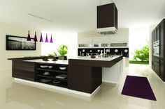 Modern white kitchen with dark, mocha wood and purple accents.   Source: https://www.zillow.com/digs/Home-Stratosphere-boards/Luxury-Kitchens/