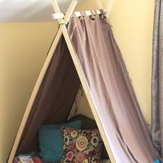 Easy Kid's Tent Tutorial...a larger version could be used to cover part of a twin bed as a headboard/hideout