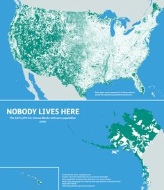 Where people don't live in the USA, 0 population by Nik Freeman #map #usa