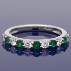18ct Emerald & Diamond Eternity Ring £1,150.00 Eternity Rings, Eternity Ring Diamond, Emerald Diamond, Diamond Gemstone, Gifts For Wife, Gifts For Friends, Jewelry Gifts, Wedding Planning, Wedding Rings