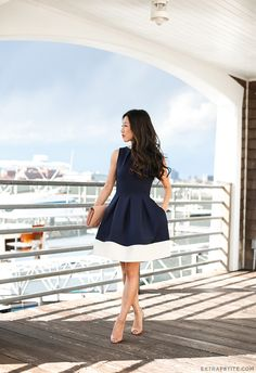 ExtraPetite.com - Nautical in navy // What to wear to a casual wedding