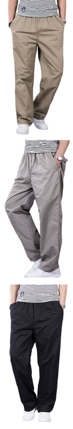 Mens Super Size Thin Spring Summer Elastic Waist Drawstring Loose Fit Casual Cargo Pants