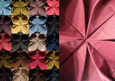 Origami fabric for wall covering by Hanna Nyman of Sweden with interior designer Marie Dreiman.