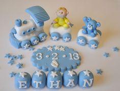 HANDMADE EDIBLE CHRISTENING BABY TRAIN DECORATION BIRTHDAY CAKE TOPPER BOY--GIRL | eBay