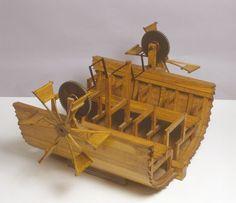The paddle boat of Leonardo da Vinci Renaissance Humanism, High Renaissance, Da Vinci Inventions, Genius Loci, Leather Bound Journal, Paddle Boat, Prop Design, Last Supper, Ancient Artifacts