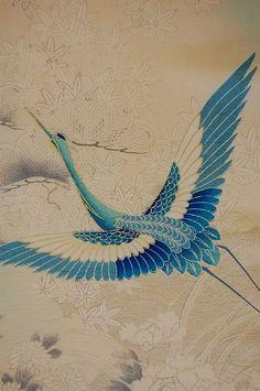 blue crane art