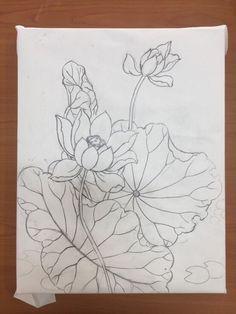 이웃님들 오랜만이예여저는 개인전을 앞두고 넘나 정신없는 하루하루를 보내고 있답니당 ㅠㅠ(그래도 잘껀 ... Lotus Kunst, Lotus Art, Lotus Painting, Fabric Painting, Flower Line Drawings, Art Drawings, Pichwai Paintings, Korean Painting, Plaster Art