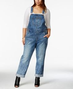American Rag Plus Size Ripped Remy Wash Overalls, Only at Macy's - Pants & Capris - Plus Sizes - Macy's Denim Romper, Jean Overalls, Dungarees, Clothing Websites, Clothing Styles, Plus Size Jeans, American Rag, Plus Size Fashion, High Fashion