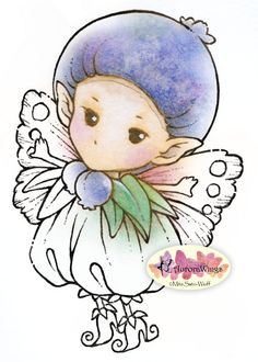Heres a digital stamp for YOUR coloring & card-making fun! A pudgy blueberry sprite with blueberry hat and a matching outfit with wings. This is a
