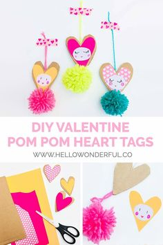 These cute Valentine Pom Pom Heart Cards make adorable and colorful handmade Valentine cards kids can make! Baby Crafts, Preschool Crafts, Diy Crafts For Kids, Projects For Kids, Homemade Valentines, Valentines For Kids, Valentine Day Crafts, Valentine's Cards For Kids, Heart Cards