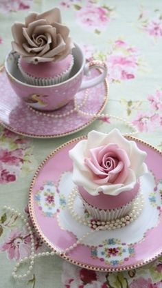 """Roses in tea cups....delightful idea for """"Tea Time"""" sweets!"""