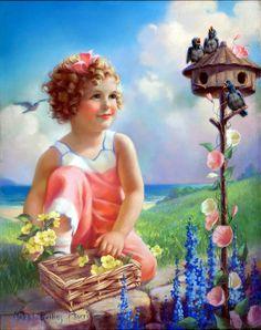 """Spring Song"" -- by Mabel Rollins Harris (American, Antique Prints, Vintage Prints, Vintage Pictures, Vintage Images, Jessie Willcox Smith, Pin Up, Spring Song, Spring Girl, Vintage Calendar"