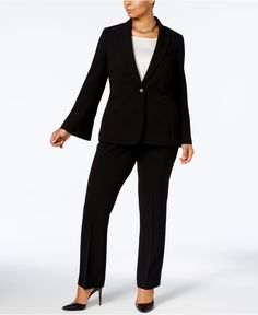 Tahari ASL Plus Size Bell-Sleeve Blazer & Straight-Leg Pants - Suits & Suit Separates - Plus Sizes - Macy's
