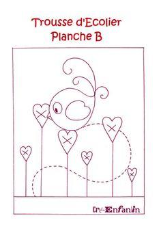 cre enfant - Rosella Horst - Álbuns da web do Picasa Bird Applique, Applique Embroidery Designs, Wool Applique, Applique Patterns, Cross Stitch Embroidery, Hand Embroidery, Quilt Patterns, Motifs D'appliques, Couture Main