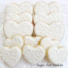 Sugar Dot Cookies: White on White Wedding Sugar Cookies with Royal Icing