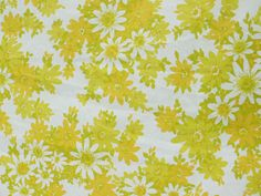 Vintage 60s Mod Daisy Floral Queen Flat Bed Sheet Yellow White Light Olive Orange Fabric by PaddywhackKnickKnack on Etsy