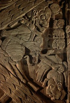 Maya, Turtle God of Death, Tonina, Chiapas, Mexico: