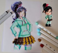 Here is my version of grown up Vanellope She really is one of my favorite animated movie characters! Can't wait for Wreck it Ralph 2 - hope it's gonna b. Vanellope from Wreck it Ralph Cool Art Drawings, Kawaii Drawings, Beautiful Drawings, Cool Artwork, Drawing Ideas, Chibi Characters, Movie Characters, Cartoon As Anime, Cartoon Art