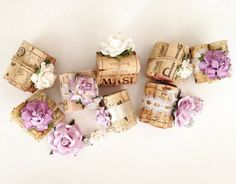 Wine Cork Place Card Holders, Perfect for Rustic Wedding & Bridal Showers, Custom Colors, Handmade Flowers, Vintage Lace, Satin, Twine