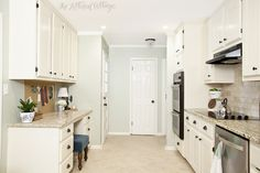 Gorgeous Before & After. Kitchen Makeover | Navajo White Paint | Comfort Gray Paint | The Lettered Cottage