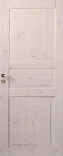 Трехфиленчатая сосновая дверь под белым лаком глухая однопольная