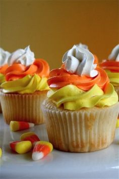 Candy Corn Cupcakes - Delicious! @BabyCenter #Halloween