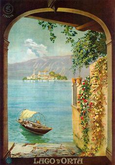 Vintage 1925 Lake Lago D Orta Italy Italian Travel Poster Re-Print Retro Poster, Poster Vintage, Vintage Travel Posters, Vintage Italian Posters, Fine Art Prints, Framed Prints, Jr Art, Kunst Poster, Advertising Poster