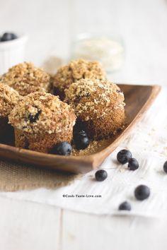 Εύκολα και υγιεινά μάφινς ολικής με blueberries
