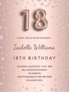 By Thunes Designs (thunesdesigns.com) A modern, stylish and glamorous invitation for a 18th birthday party. A faux rose gold metallic looking background with pink diamonds. The name is written with a modern dark rose gold colored hand lettered style script. Personalize and add your party details. Number 18 is written with a balloon style font, script. Rose Gold Backgrounds, Number 18, Birthday Roses, Pink Diamonds, 18th Birthday Party, Postcard Design, Rose Gold Color, Postcard Size, Hand Lettering